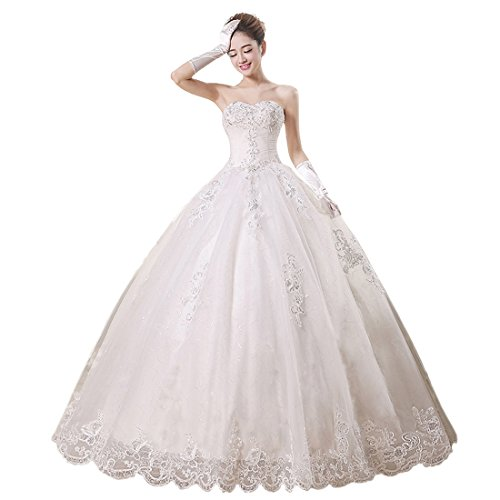 Partiss Women's Strapless Tulle Wedding Dress (Chinese S, Beige) (Strapless Wedding Informal Dresses)