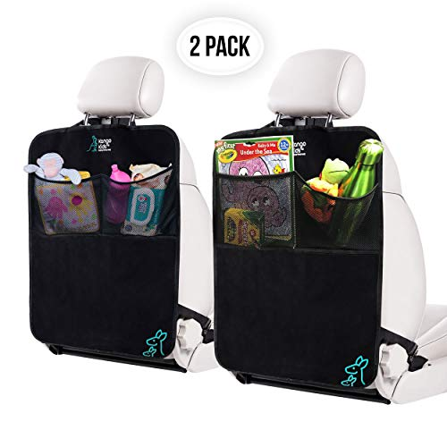 KangoKids Kick Mats - 2 Pack - Keep Your Upholstery Clean - Waterproof and Stain Resistant Back Seat Protectors - Car Seat Protector with Pockets Doubles up as a Handy Car Organizer