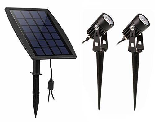 Lewisia Solar Spotlights Outdoor Solar Garden Lighting Adjustable Wall Light Landscape Lighting Security Light with 2 Lights for Garden Courtyard Lawn Driveway Pathway Warm White