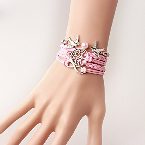Wandafull Eternal Tree of Life Pink Pearl Bird Leather Cuff Bracelet Diy Handmade Pink