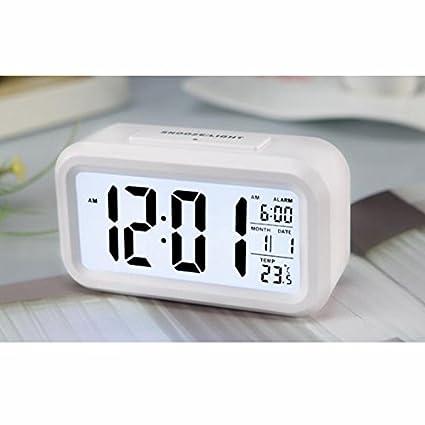 Light-activated Sensor Light Repeating Snooze Digital LCD Alarm Clock w// Date and Temperature Display 021 AX-AY-ABHI-77201 Multifunction Alarm Clock Green