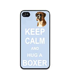 lintao diy Custom Boxer Dog Keep Calm and Hug Hard Case Clip on Back Cover for i-Phone 4/4S
