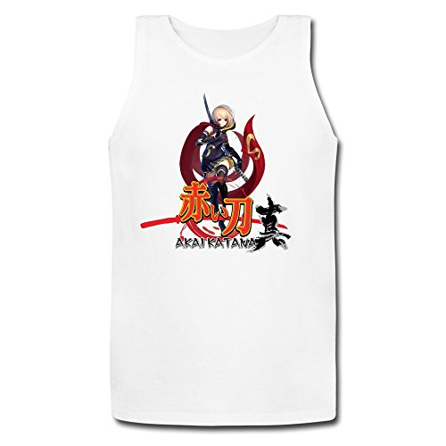 PingAnShu Men Cotton Akai Katana Tank Top Tshirts