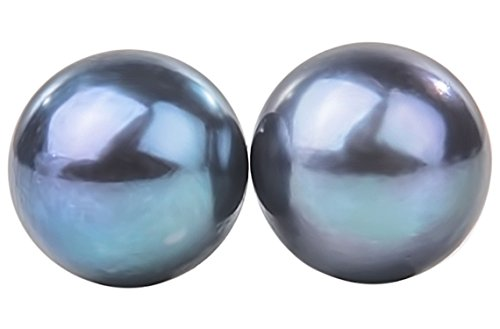 Peacock Blue Freshwater Pearl Stud Earrings Sterling Silver 10mm