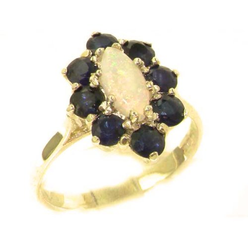 14k Yellow Gold Natural Opal and Sapphire Womens Cluster Ring - Sizes 4 to 12 (Gold Sapphire Estate Ring)