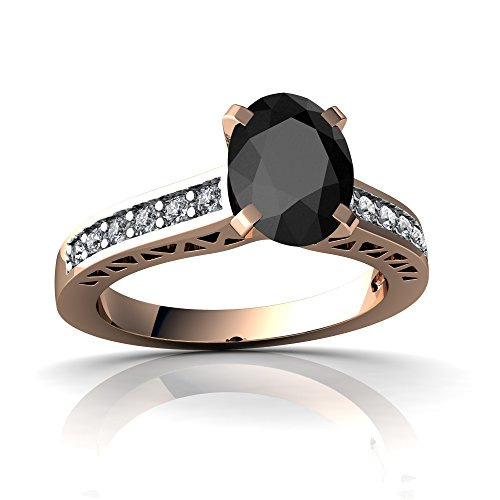 14kt Rose Gold Black Onyx and Diamond 8x6mm Oval Art Deco Ring - Size 9