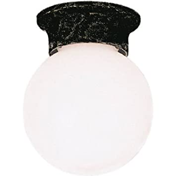 Westinghouse Lighting 6684000 1-Light Porch Black with White Globe