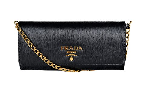 Prada Women's Vitello Move Leather Wallet-On-Chain 1BP290 Nero (Black)