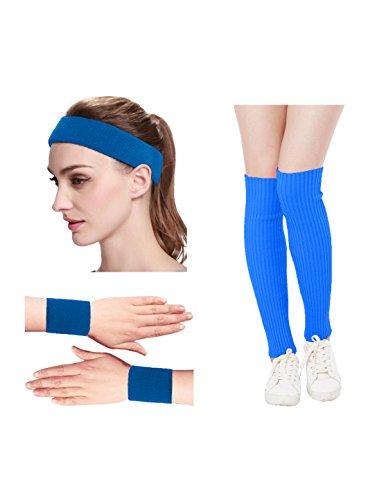 KIMBERLY S KNIT Women 80s Neon Pink Running Headband Wristbands Leg Warmers Set (Free, Blue)