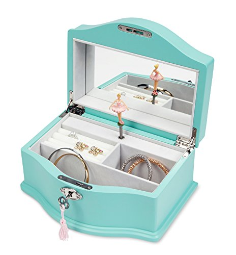 JewelKeeper Girls Wooden Musical Jewelry Box with Lock and Key, Classic Design with Ballerina and Mirror, Swan Lake Tune, Blue (Swan Trinket Box)