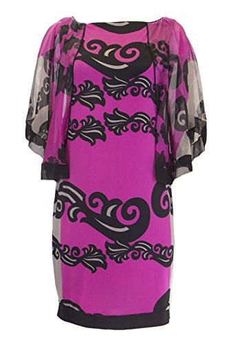 ANALILI Women's Silk Medium Batwing Print A1306AE04 Magenta Floral Sz Dress rr6Oxdw