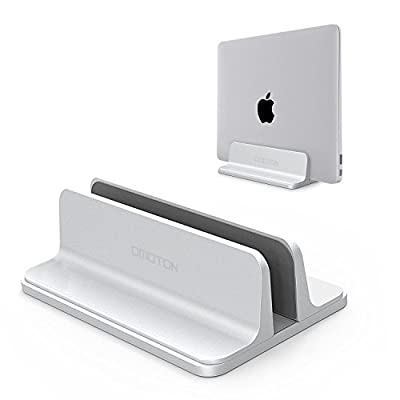 Vertical Laptop Stand [Adjustable Size], OMOTON Desktop Aluminum MacBook Stand with Adjustable Dock Size, Fits All MacBook, Surface, Chromebook and Gaming Laptops (up to 17.3 inch)