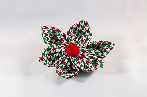 Green and Red Christmas Houndstooth Girl Dog Flower Bow Tie