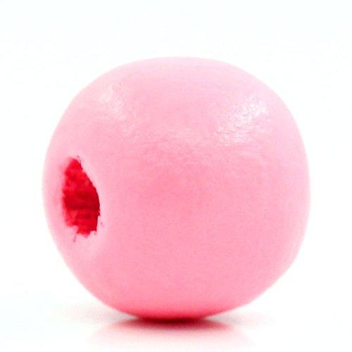 200/unidades cuentas de madera madera bolas color rosa 10/mm