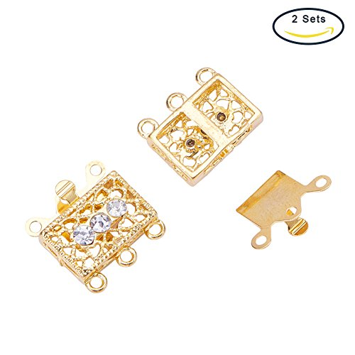 Pandahall 2 Sets Golden Tone Brass Rhinestone Clasps, Filigree Box Clasps, about 18mm wide, 17mm long, 7mm thick; hole: 1.5mm (Clasp 2 Hole)