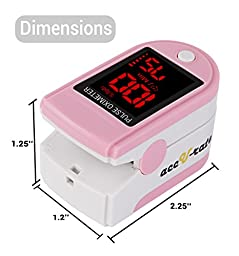 Acc U Rate Pro Series CMS 500DL Fingertip Pulse Oximeter Blood Oxygen Saturation Monitor with silicon cover, batteries and lanyard, Blushing Pink