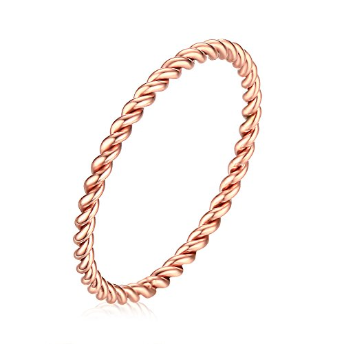 (INRENG Women's Stainless Steel 1.5mm Twisted French Rope Thin Wedding Ring Rose Gold Size 8)