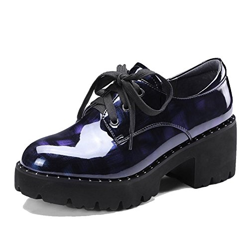 blue Femme Matériau WSXY A0317 Verni Creepers à Cuir KJJDE Plateformes Chaussures en Baskets 6xfqOwE