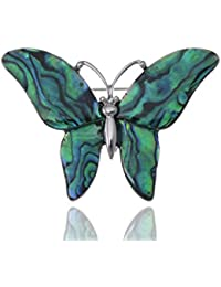 Silvery Tone Abalone Colored Stones Green Blue Butterfly Brooch Pin