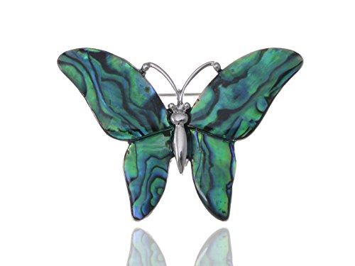 Alilang Silvery Tone Abalone Colored Stones Green Blue Butterfly Brooch Pin