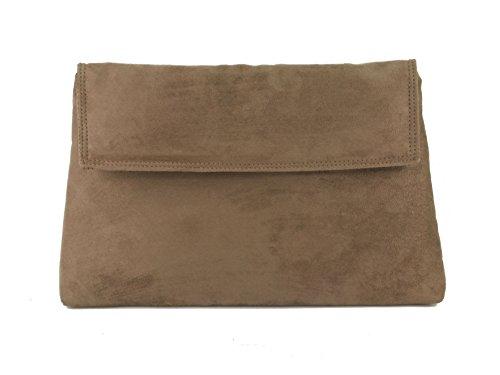 - LONI Womens Charming Clutch Purse Shoulder Cross-body Bag Faux Suede in Brown Milk Chocolate