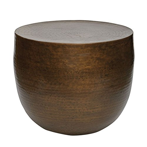 - BrylaneHome Round Side Table (Antique Gold,0)