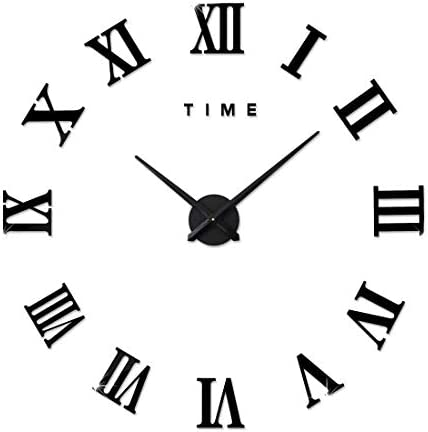 FAS1 Modern DIY Large Wall Clock Big Watch Decal 3D Stickers Roman Numerals Mute Wall Clock Home Office Removable Decoration – Black Battery NOT Included