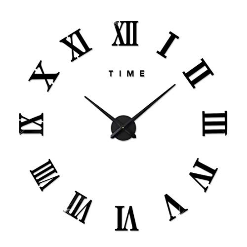 FAS1 Modern DIY Large Wall Clock Big Watch Decal 3D Stickers Roman Numerals Mute Wall Clock Home Office Removable Decoration - Black (Battery NOT -