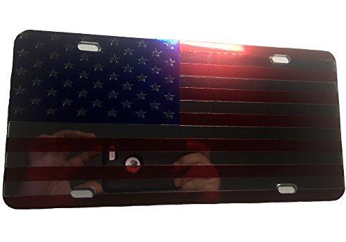 CustoMonsterDesigns US Flag License Plate American Flag License Plate Chrome Mirror Royal Blue and Chrome Mirror Red on Mirror License Plate (Flag Patriotic License Plate)