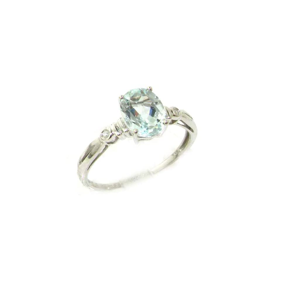 Solid White 9K Gold Natural AAA Aquamarine & Diamond Ladies Ring   Size N, Valentines