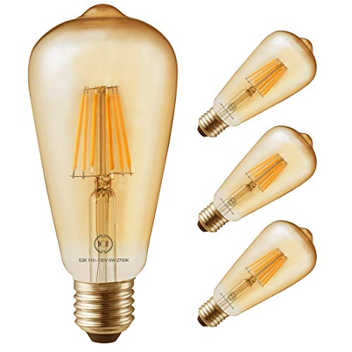 Led Filament Bulb Retro Vintage Edison Style ST64, Dimmable, E26 Medium Base, Warm Color Light, 700 Lumens, 60 Watt Incandescent Equivalent (Amber Color Glass, 6 Watt, Pack of 4)