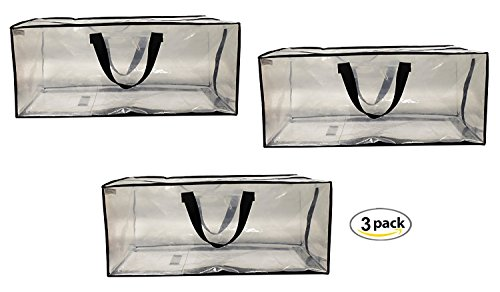 Earthwise Clear Storage Bags Extra Large Heavy Duty Transparent Totes w/Zipper closure Reusable Backpack Carrying Handles - Compatible with IKEA Frakta Hand Carts Boxes Bin (3 Pack) - Large Zipper Tote Bag
