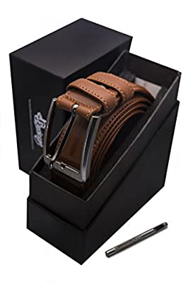BDenizens Men's Leather Belt with Pin Buckle