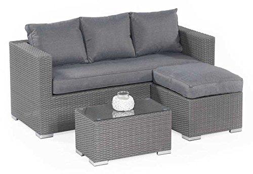 Sunny Smart Lounge-Set Salvador in perl-grau Abmessungen Sofa (H x B x T): 64 x 180 x 75 cm Abmessungen Hocker(H x B x T): 32 x 65 x 58 cm Abmessungen Tisch(H x B x T): 33 x 70 x 40 cm Sitzhöhe Sofa und Hocker: 46 cm Material: Kunststoffgeflecht Rahmen: A