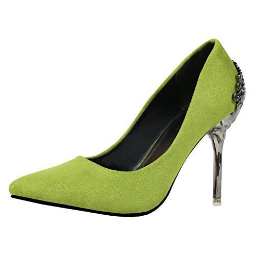 Bout Aiguille Vert Femme a Mashiaoyi Pointu Escarpins Métal Enfiler x5tw8q