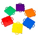Cosom Scooter Board Set, 16 Inch Scoot Board with 2 Inch Non-Marring Metal Casters & Safety Guards for Physical Education Class, Sliding Boards with Safety Handles, Sitting Scooter Board, 6 Color Set