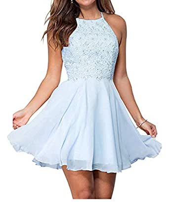 Jonlyc A-Line Halter Beaded Chiffon Short Lace Homecoming Dresses Graduation Party Gowns Baby Blue 17W