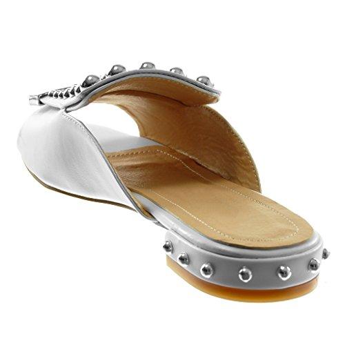 2 Blocco Sandali Perla a Angkorly Mules Borchiati Scarpe cm Donna Metallico Bianco Tacco on Moda Slip 007OqC