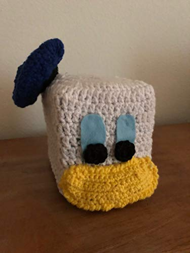 Handmade Crochet Tissue Box Cover Donald Duck