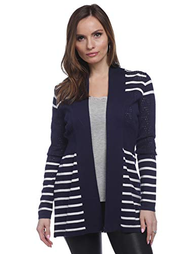 - August Silk Women's Long Sleeve Cardigan with Mixed Pointelle/Stripe, Navy/White, Large