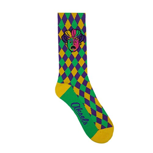 Aksels Mardi Gras Checkered Mask Calf Socks for Men and Women]()