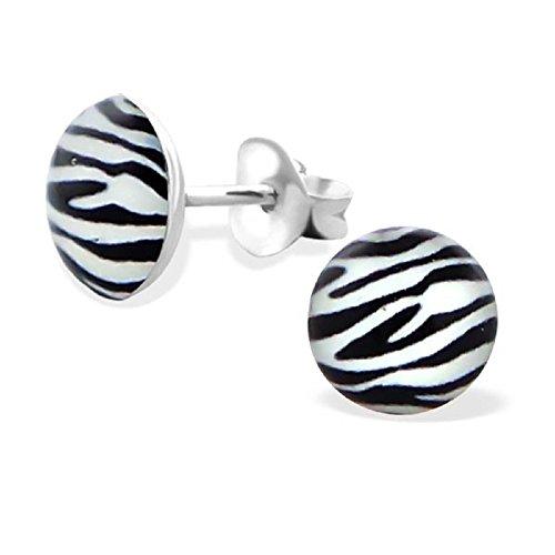 Zebra Earrings (925 Sterling Silver Hypoallergenic Zebra Stripes Stud Earrings for Women or Girls 19691)