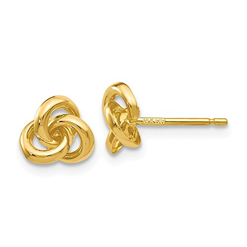 14k Yellow Gold Trinity Knot Post Stud Earrings Ball Button Love Fine Jewelry Gifts For Women For Her ()