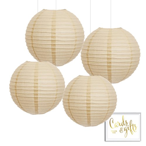 Andaz Press Hanging Paper Lantern Party Decor Kit with Free Party Sign, Ivory Cream, 4-Pack, For Elegant Fall Autumn Wedding, Engagement, Bridal Shower Colored Event Supplies Paper Lantern Party Decoration
