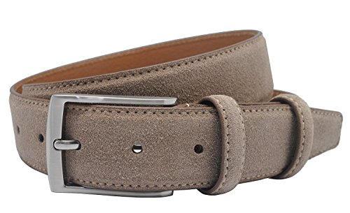 Ground Mind Extra Thickness Suede Leather Belt for Men,38,Light Taupe