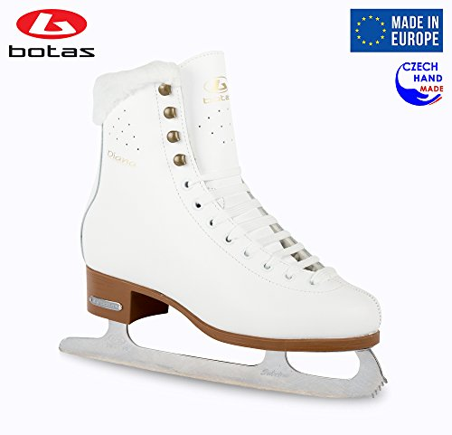 Botas – Model Diana Made in Europe Czech Republic Figure Ice Skates for Women, Girls, Kids Sabrina Blades White Color