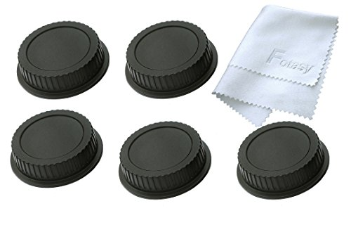 Fotasy RC5 5x Rear Lens Cover & Cleaning Cloth for Canon EOS Lenses (Black)