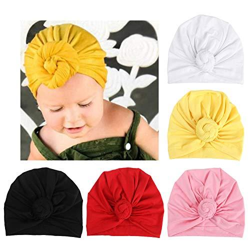 (DRESHOW BQUBO 5 Pieces Baby Turban Hats Turban Bun Knot Baby Infant Beanie Baby Girl Soft Cute Toddler Cap)