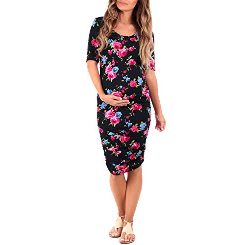 Women's Ruched Maternity Dress by Mother Bee - Made in USA (Medium, Floral Navy)