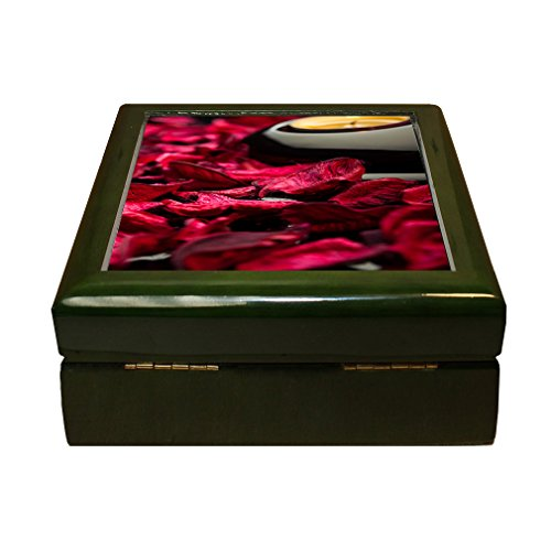 Spa Background Petals Stones And Candle 4''x4'' Jewelry Box Ceramic Tile Green Frame by Style in Print (Image #1)